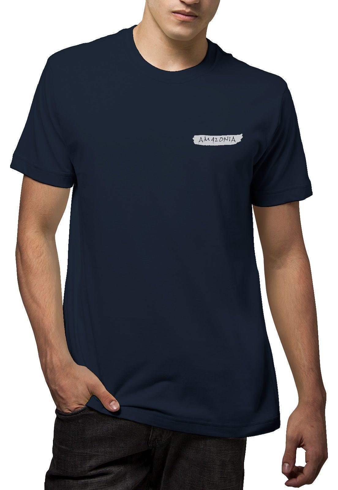 Camiseta Amazônia Penas - Azul