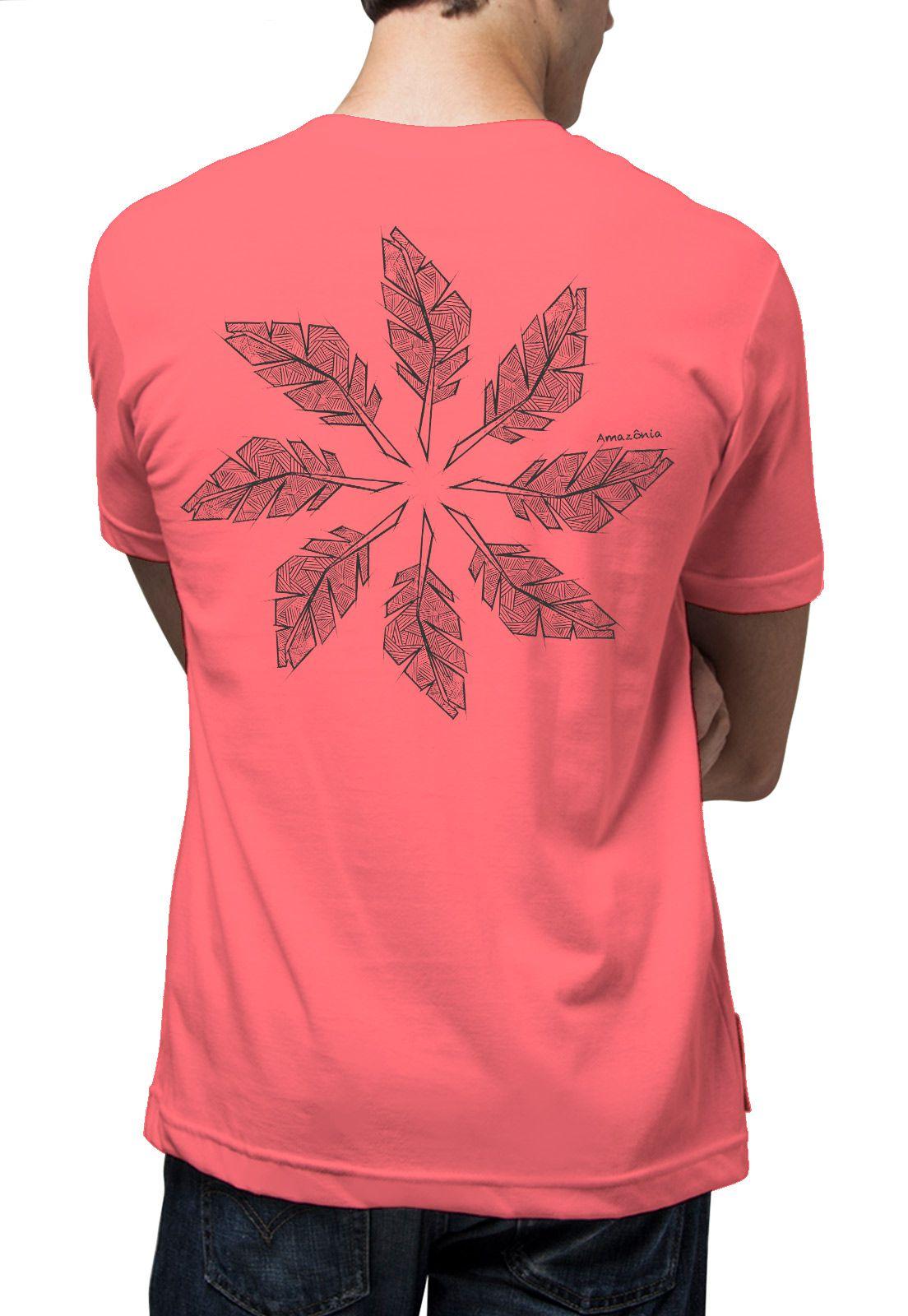 Camiseta Amazônia Penas Equilibrio - Vermelho