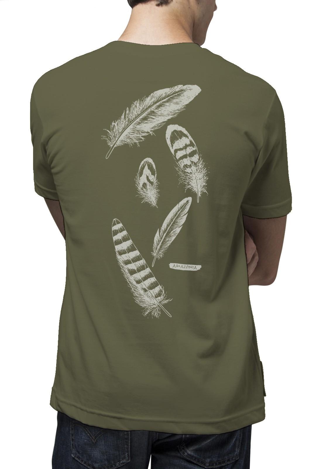 Camiseta Amazônia Penas - Verde Musgo