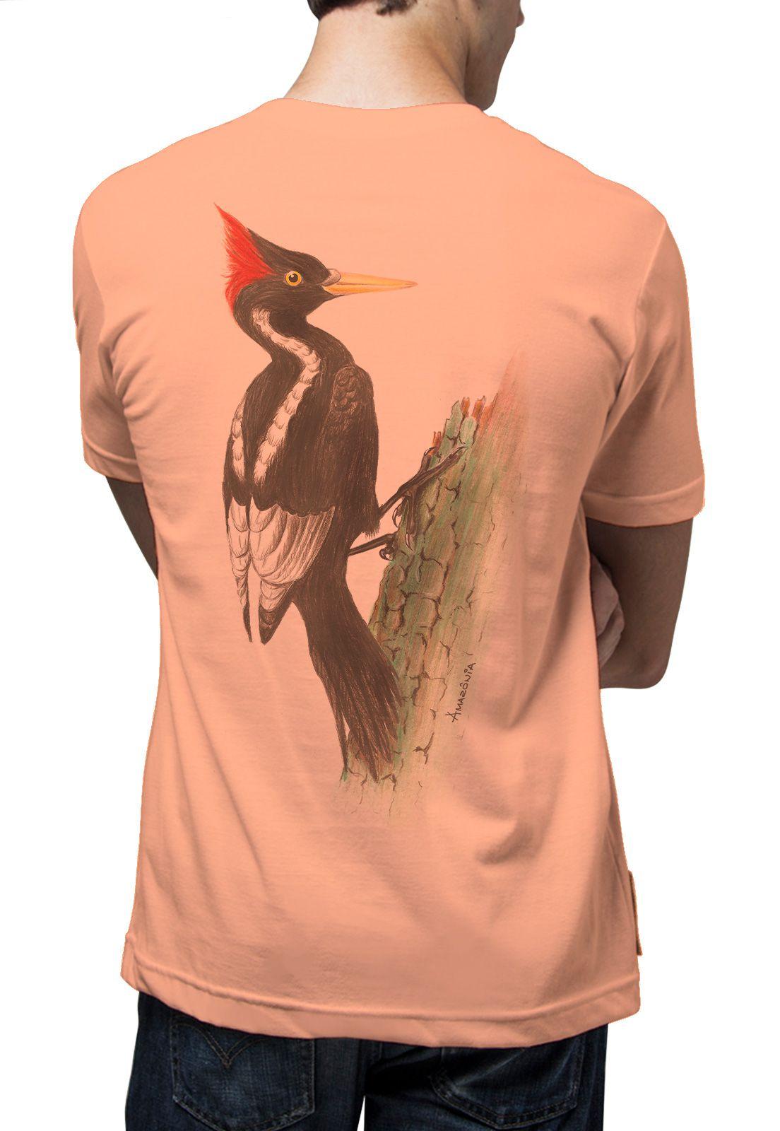 Camiseta Amazônia Pica Pau - Salmão