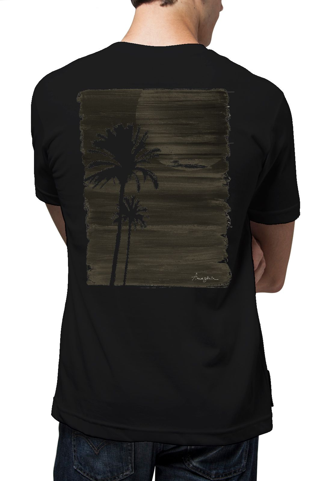 Camiseta Amazônia Pintura Coqueiro - Preto