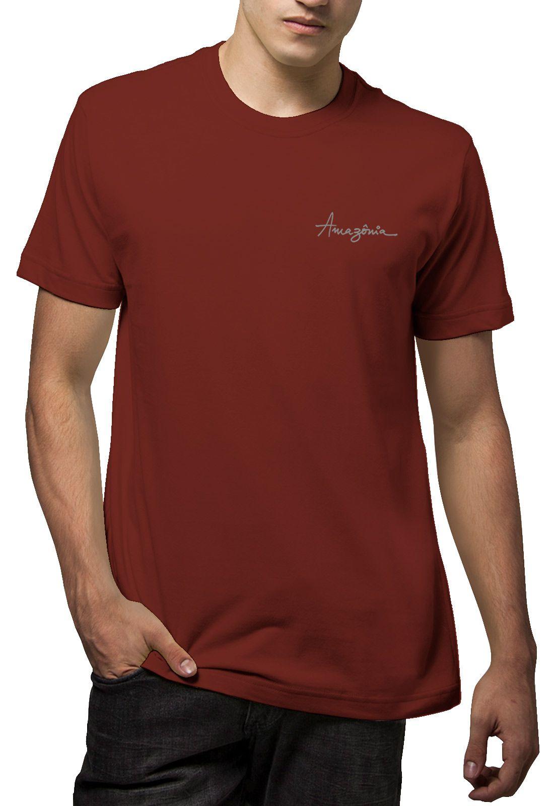 Camiseta Amazônia Pintura Coqueiro - Vinho