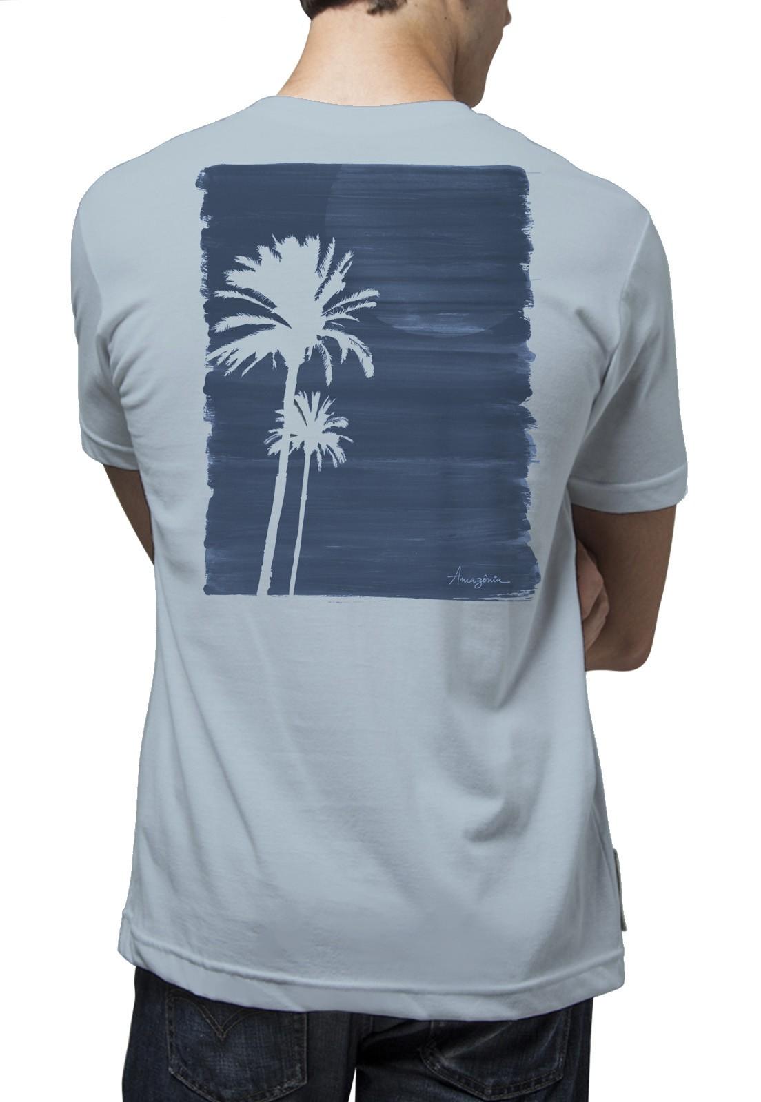Camiseta Amazônia Pintura Coqueiros - Azul Claro