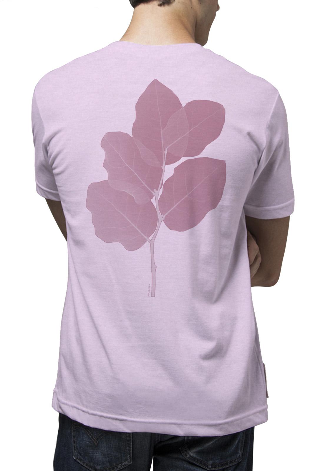 Camiseta Amazônia Planta Retícula - Mescla Rosa