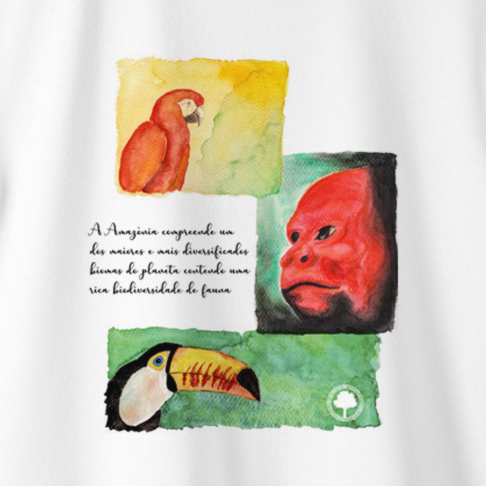 Camiseta Amazônia PROTEJA A FAUNA - BRANCO