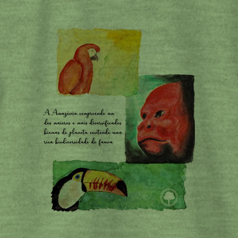 Camiseta Amazônia PROTEJA A FAUNA - MESCLA VERDE