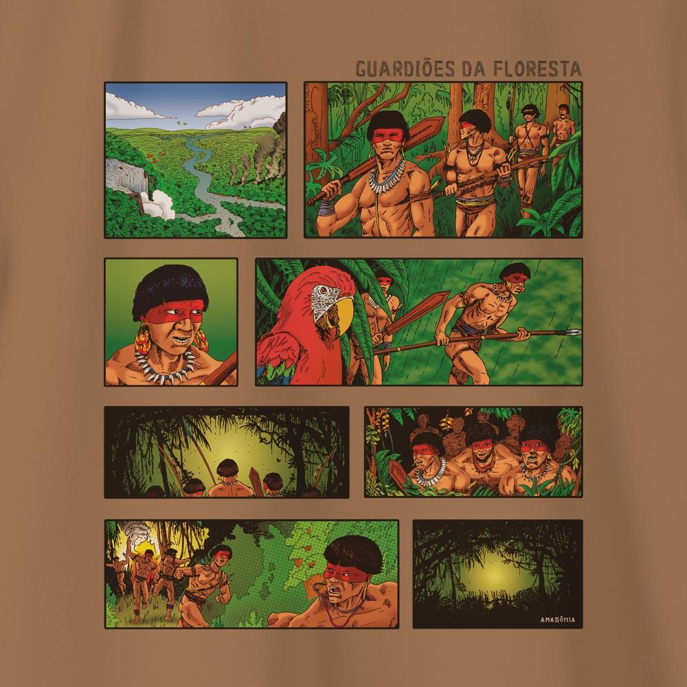 Camiseta Amazônia QUADRINHOS - MARROM