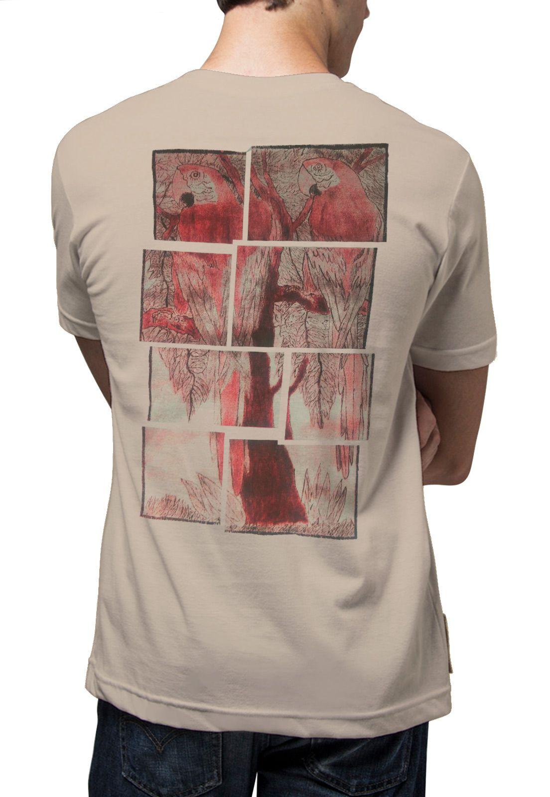 Camiseta Amazônia Quadro Araras - Bege