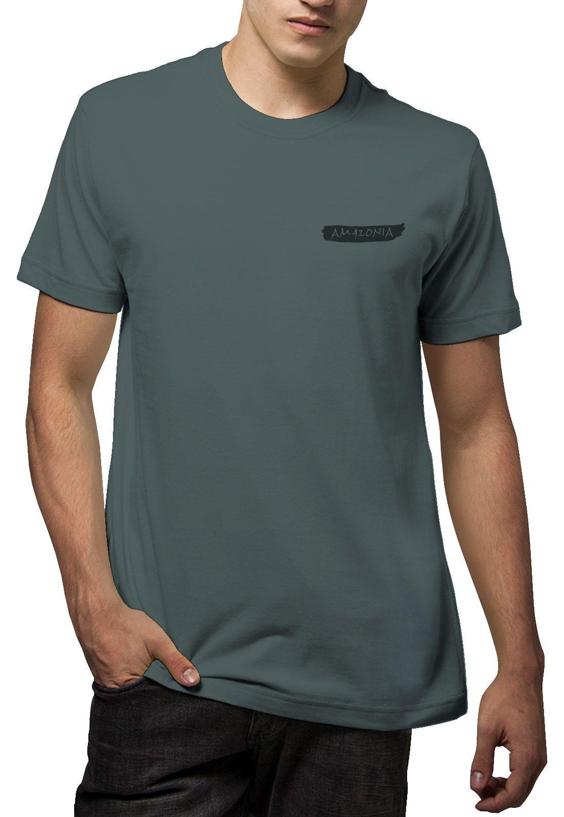Camiseta Amazônia Quadro Desmatamento - Cinza