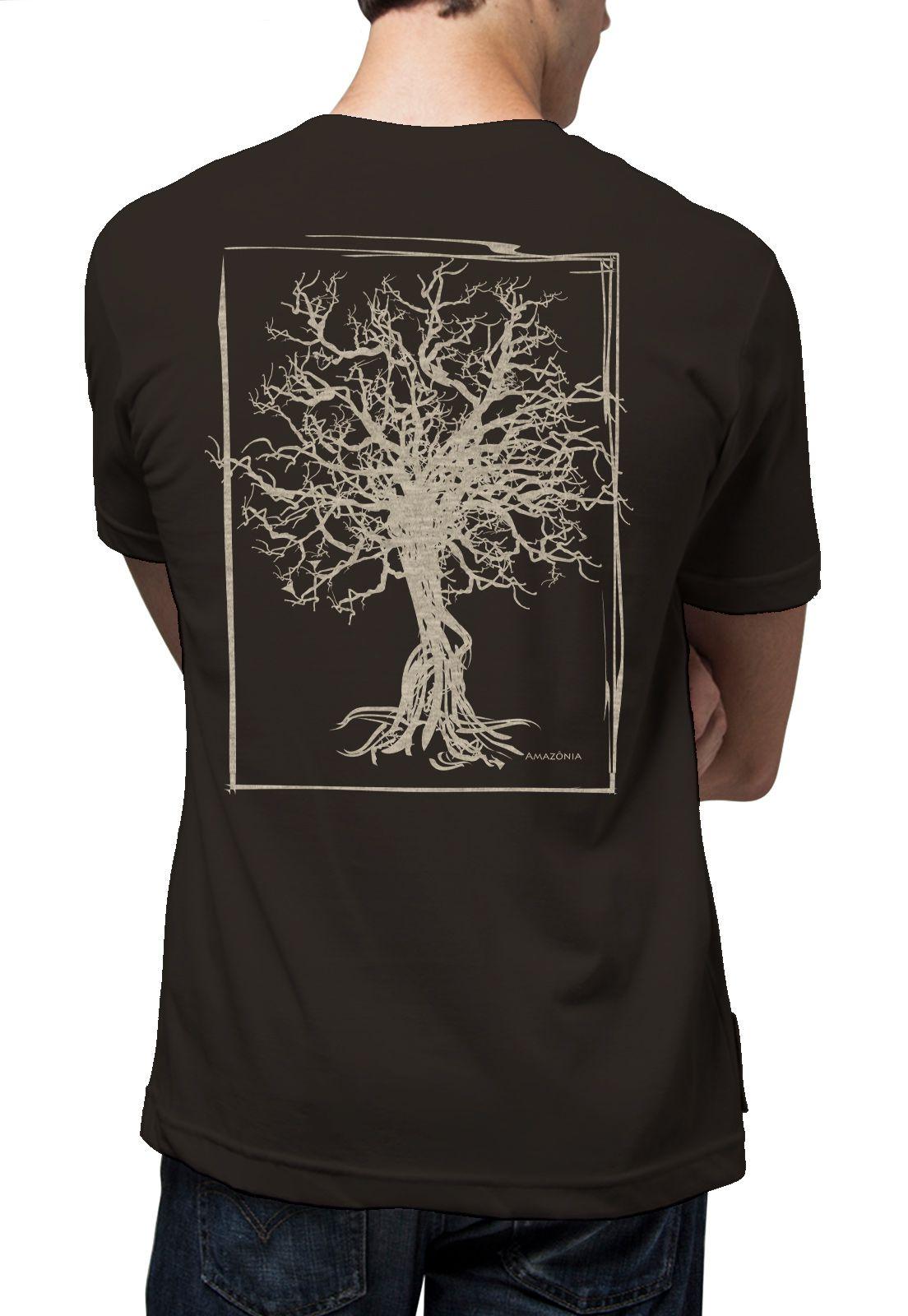 Camiseta Amazônia Quadro Desmatamento - Cinza Escuro