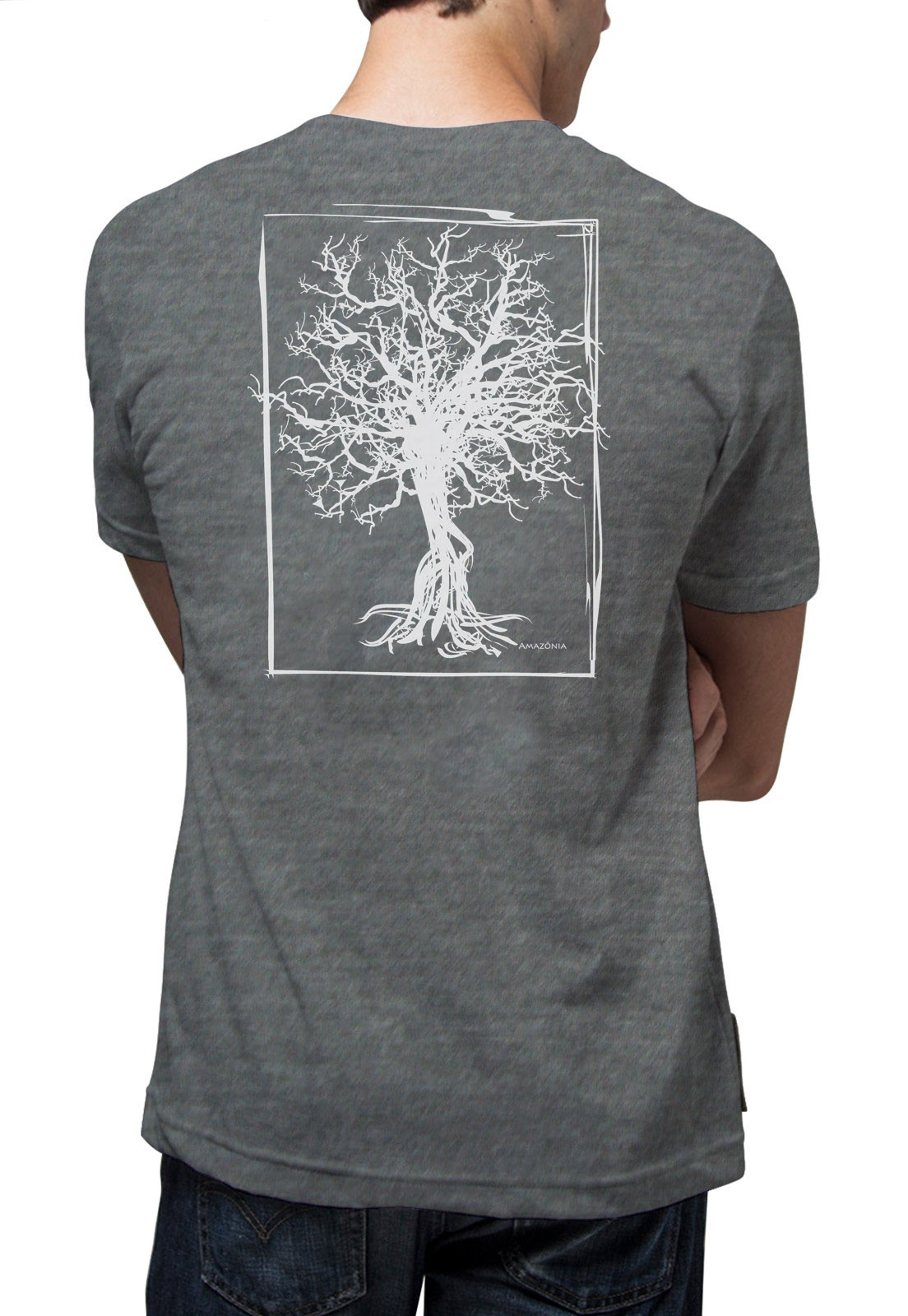 Camiseta Amazônia Quadro Desmatamento - Cinza Mescla