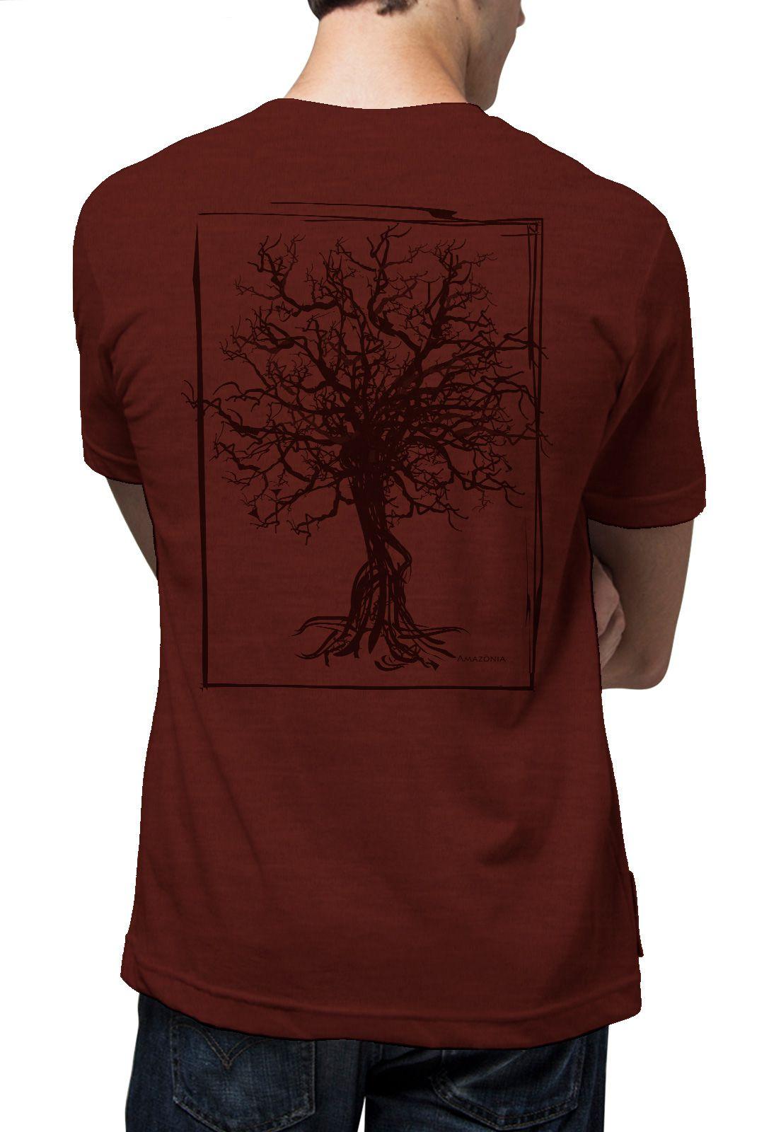 Camiseta Amazônia Quadro Desmatamento - Vinho Mescla