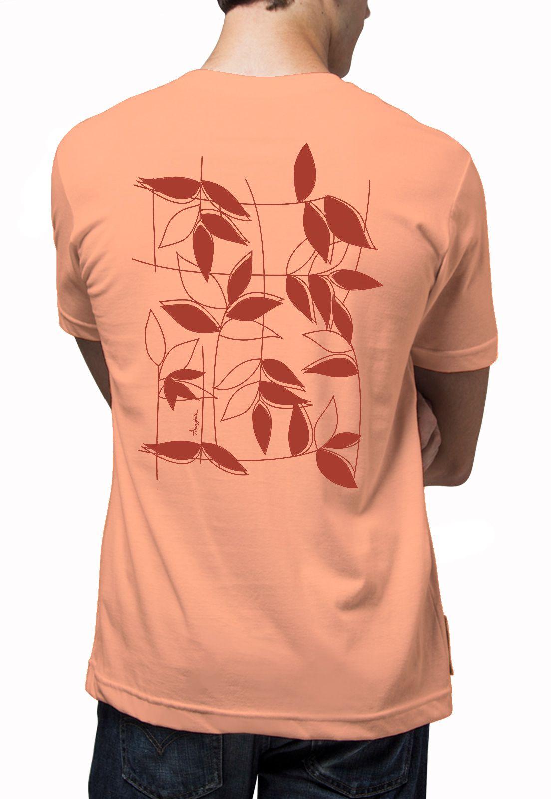 Camiseta Amazônia Quadro Natural - Salmão