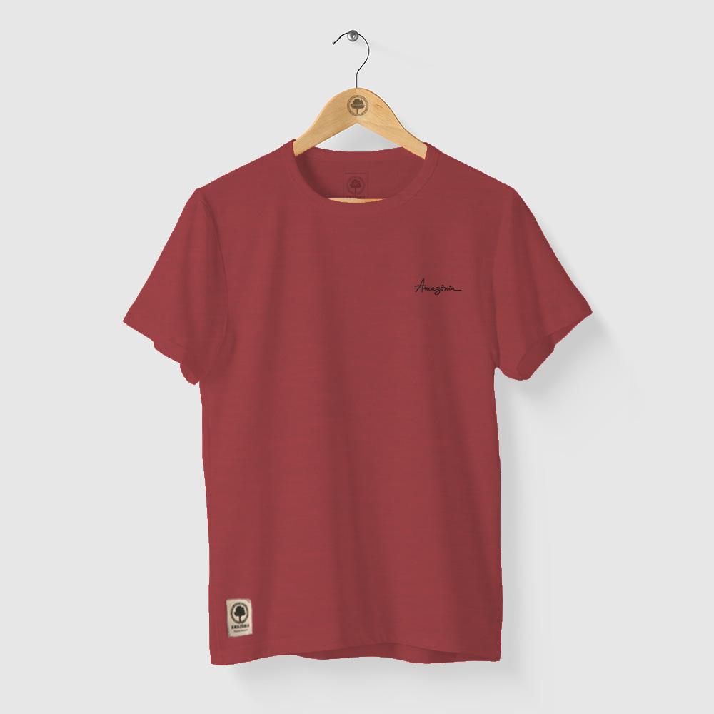 Camiseta Amazônia Quatro Flores - Mescla Vermelho