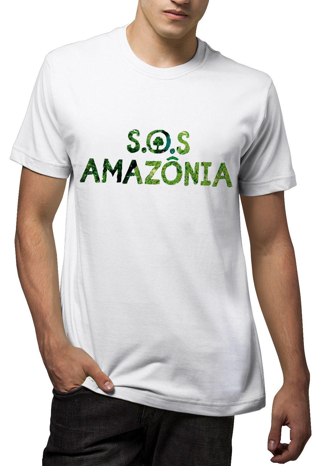 Camiseta Amazônia S.O.S Amazônia - Branco