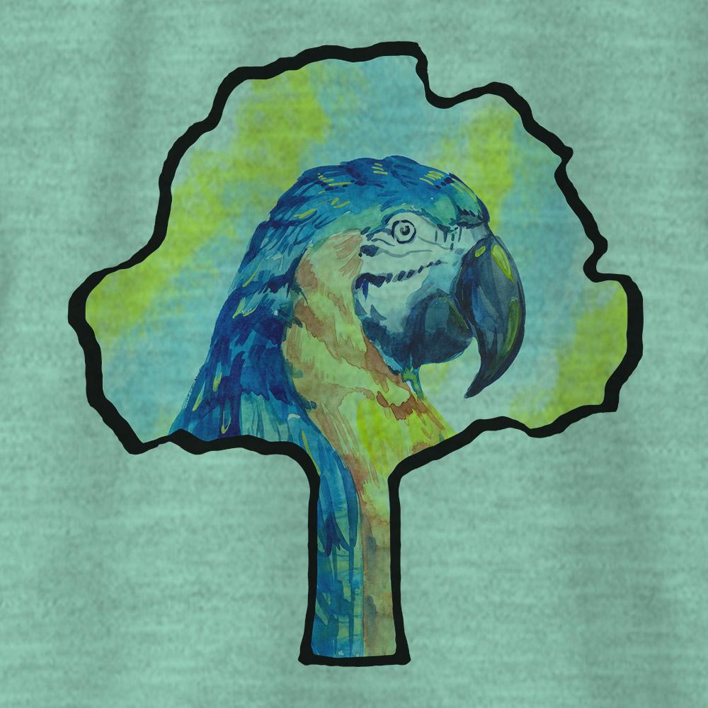 Camiseta Amazônia SILHUETA LOGO ARARA - MESCLA VERDE