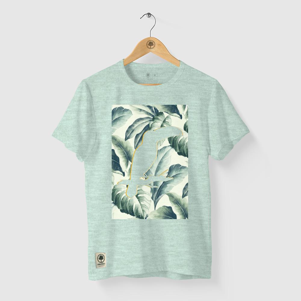Camiseta Amazônia Silhueta Tucano - Mescla Verde