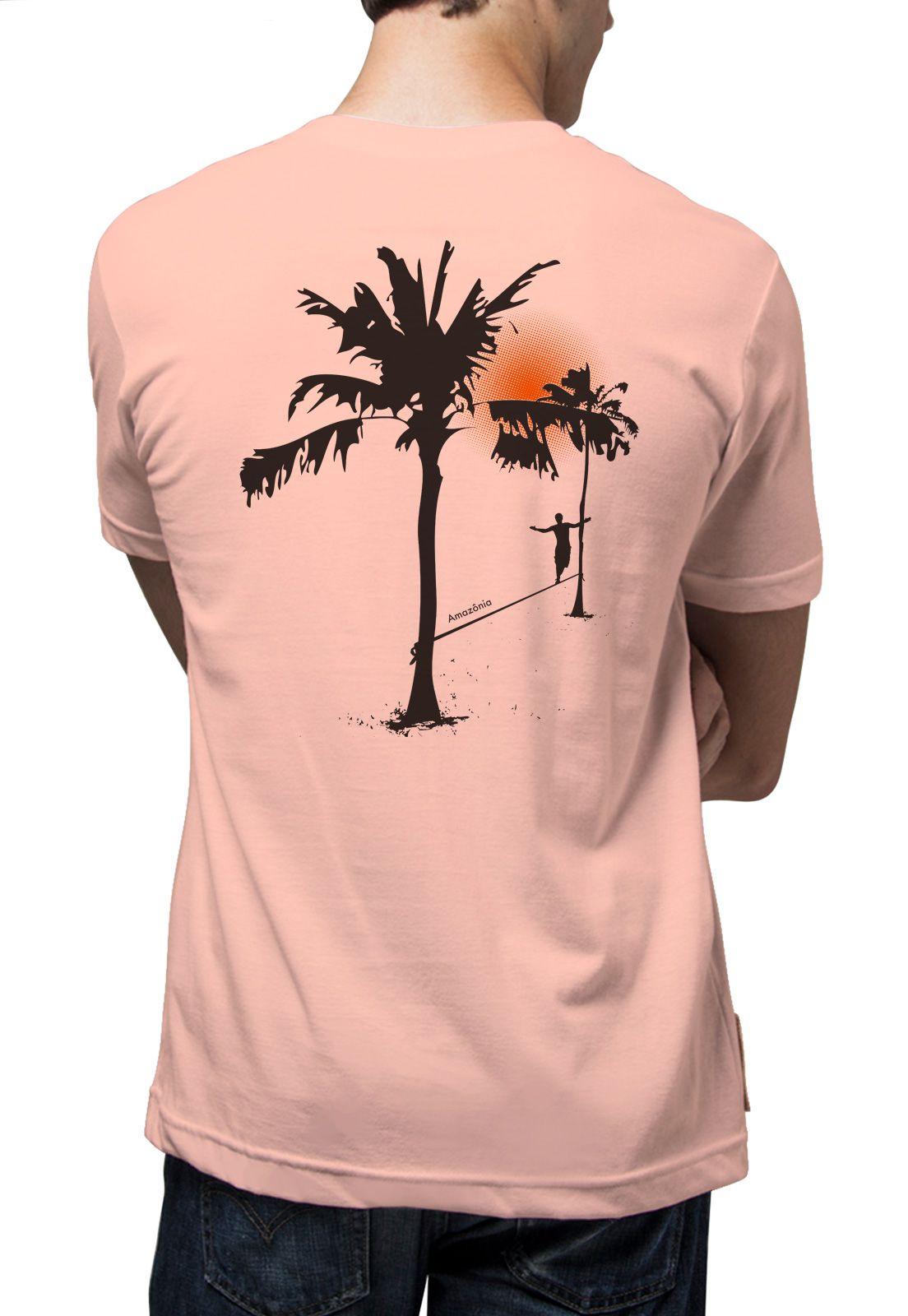 Camiseta Amazônia Slackline - Salmão