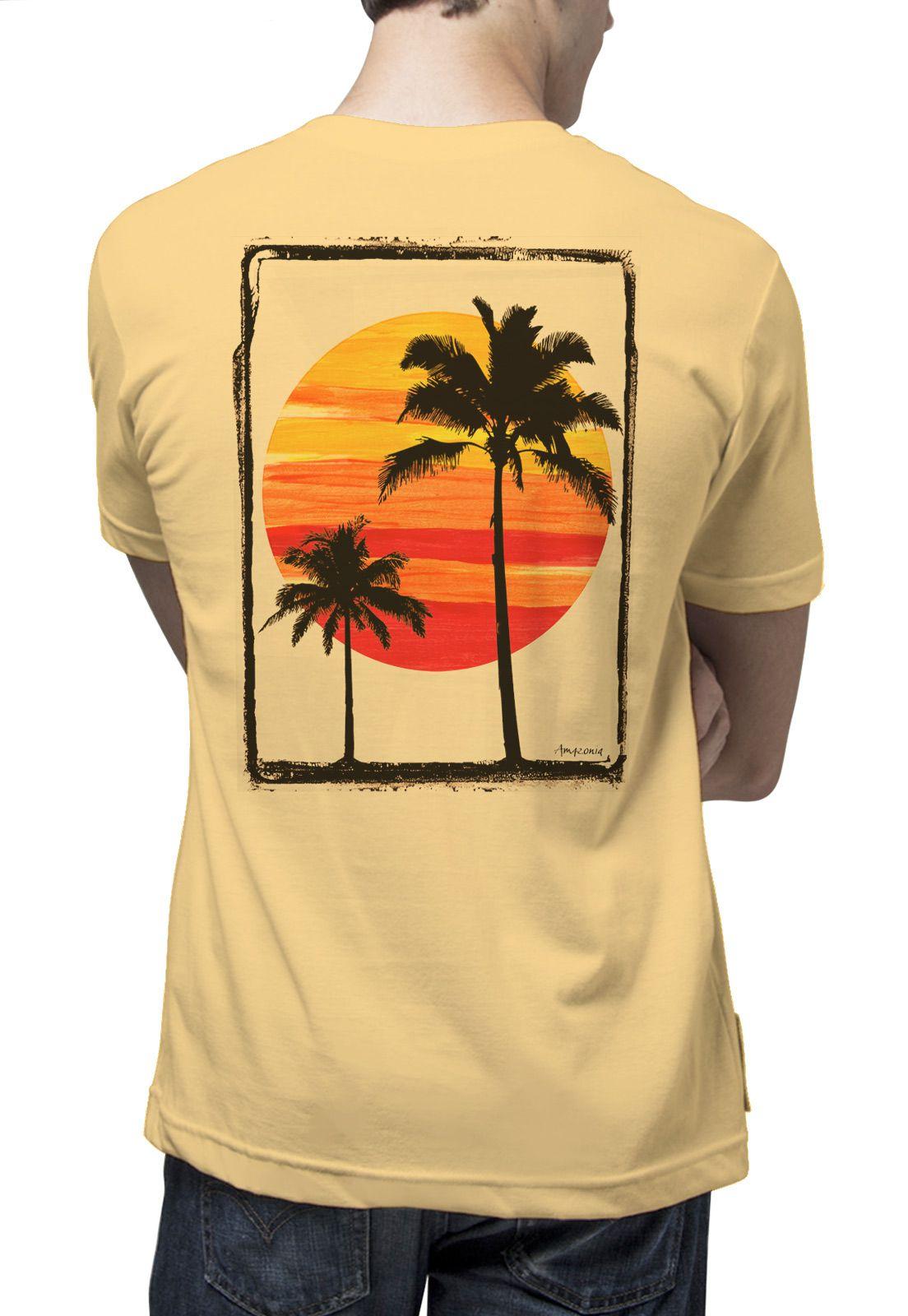 Camiseta Amazônia Sol e Coqueiros - Amarelo