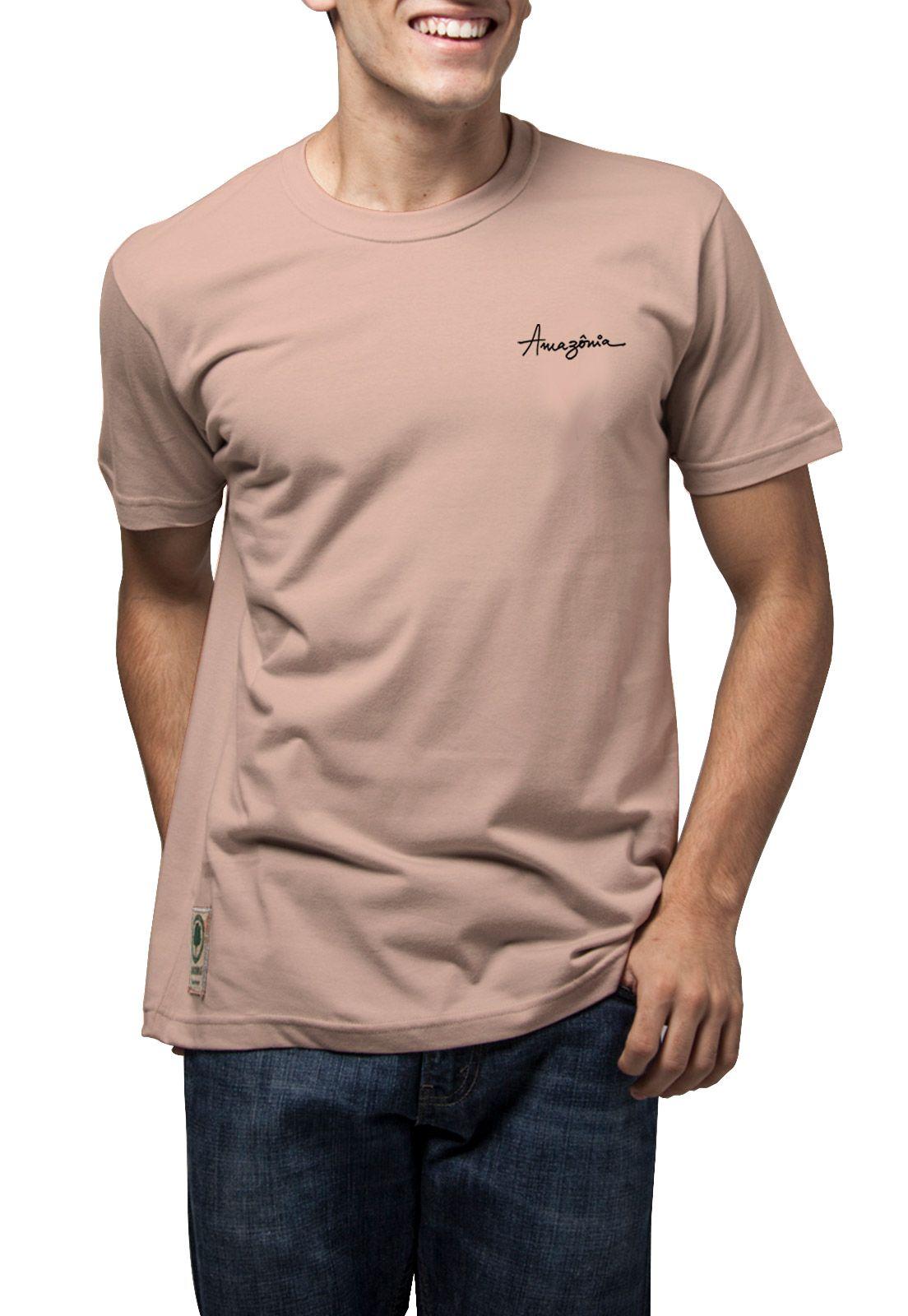 Camiseta Amazônia Sol e Coqueiros - Salmão
