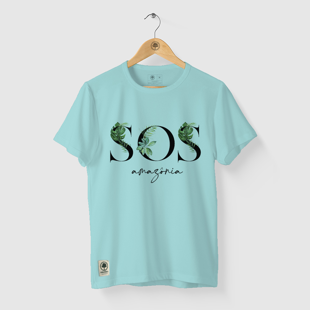 Camiseta Amazônia SOS AMAZÔNIA - AZUL