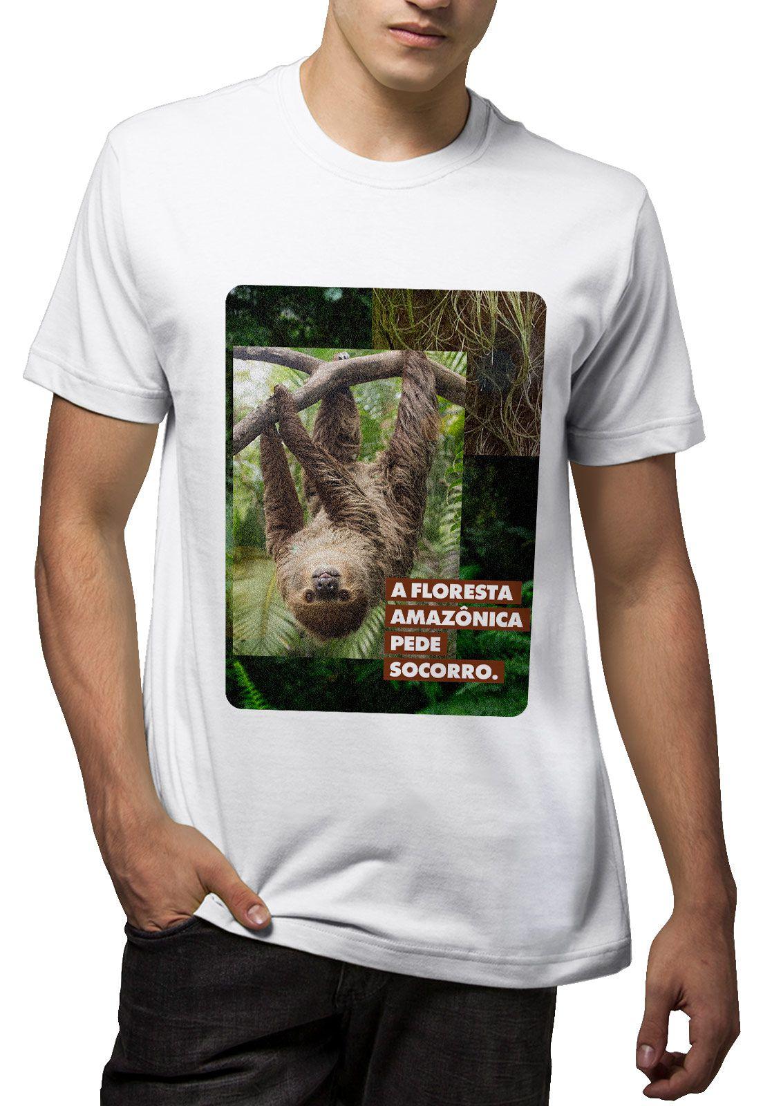 Camiseta Amazônia SOS Bicho Preguiça - Branco