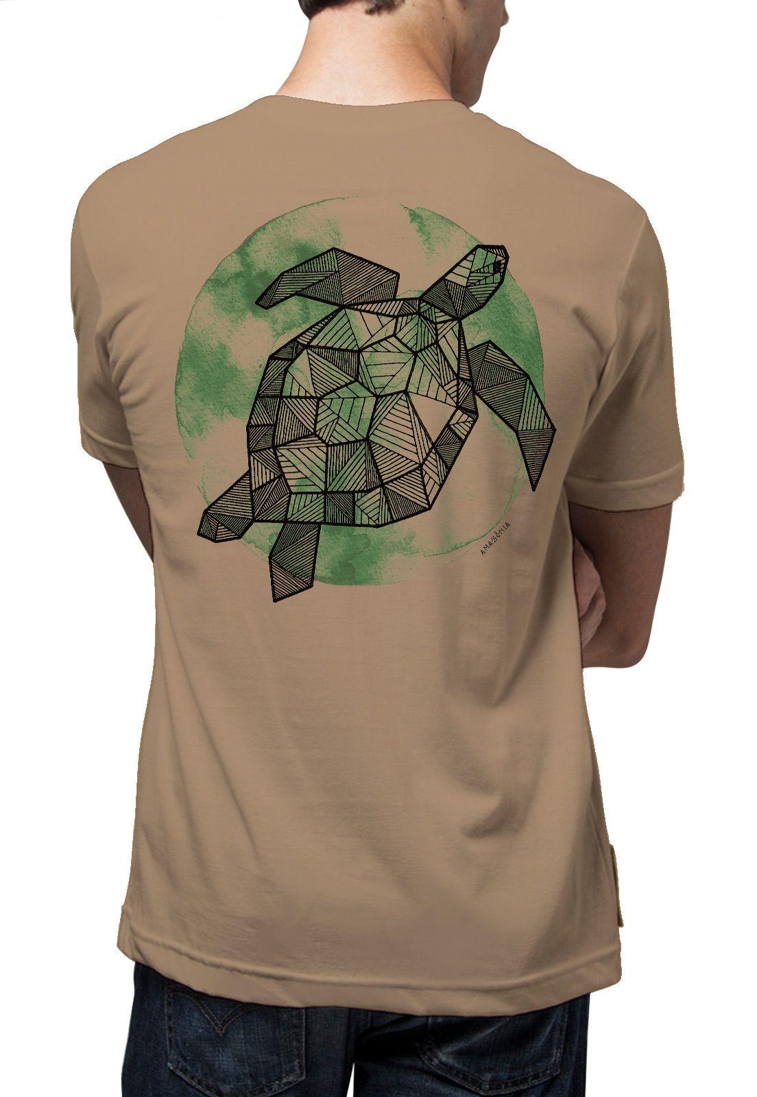Camiseta Amazônia Tartaruga Grafismo - Caqui