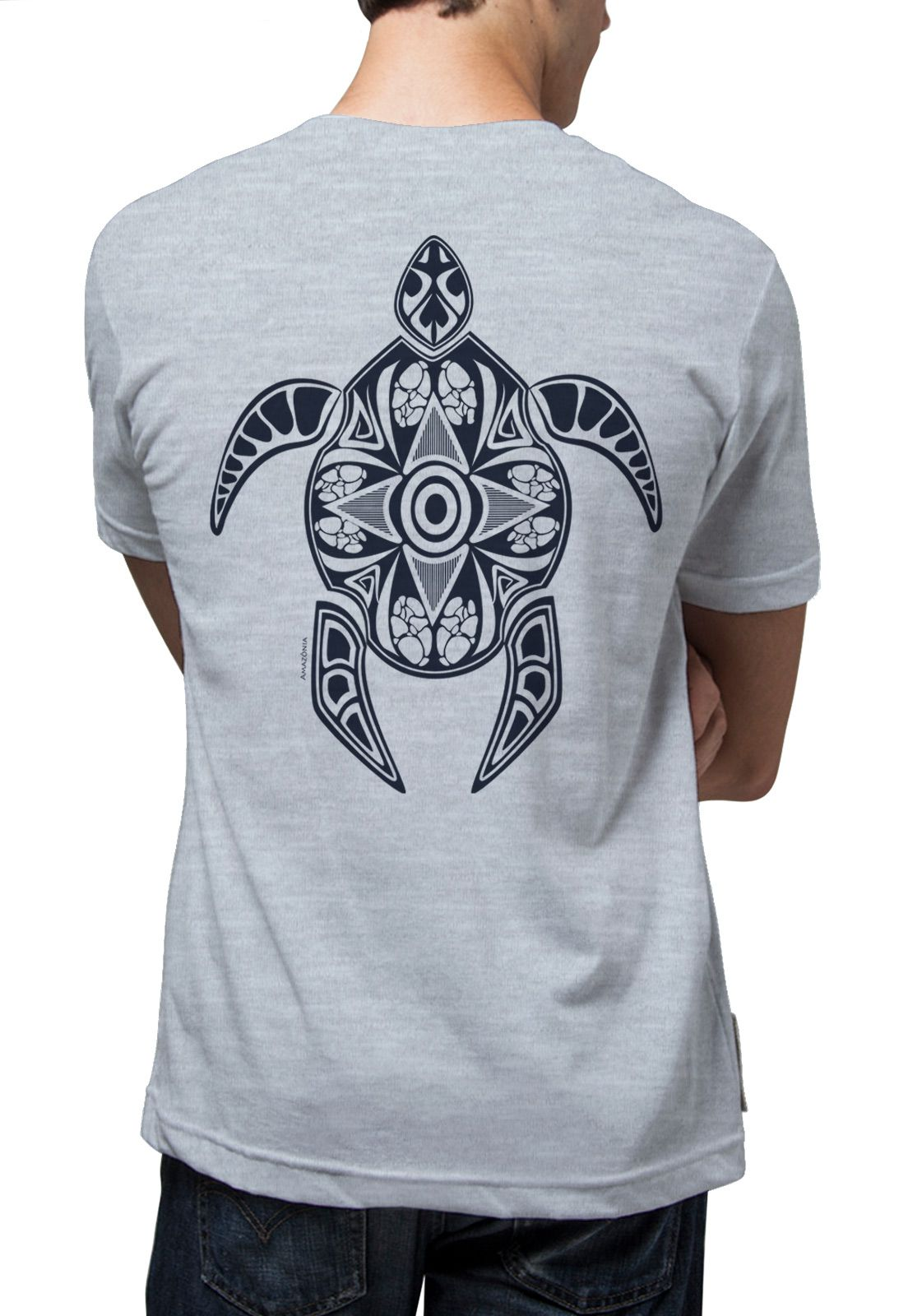 Camiseta Amazônia Tartaruga Maori - Mescla Azul