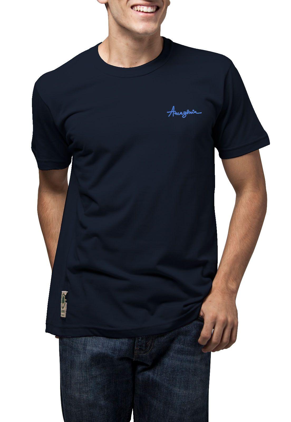Camiseta Amazônia Tinta Flor - Azul Escuro