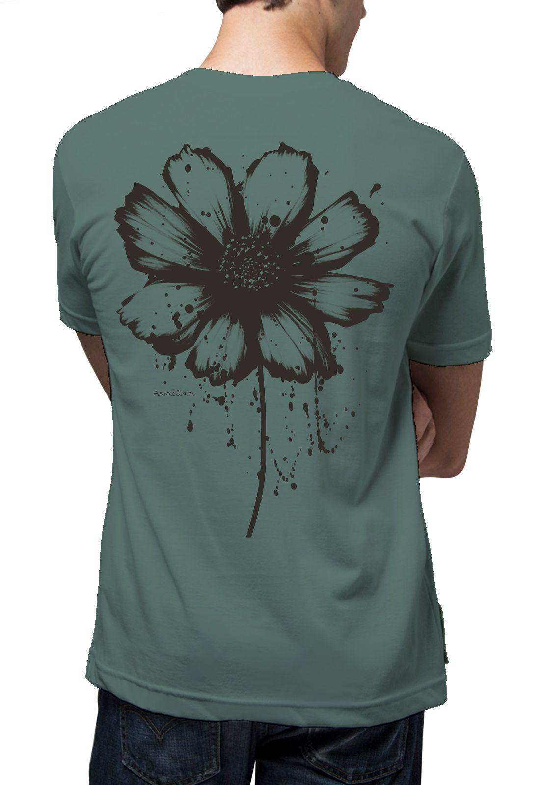 Camiseta Amazônia Tinta Flor - Cinza