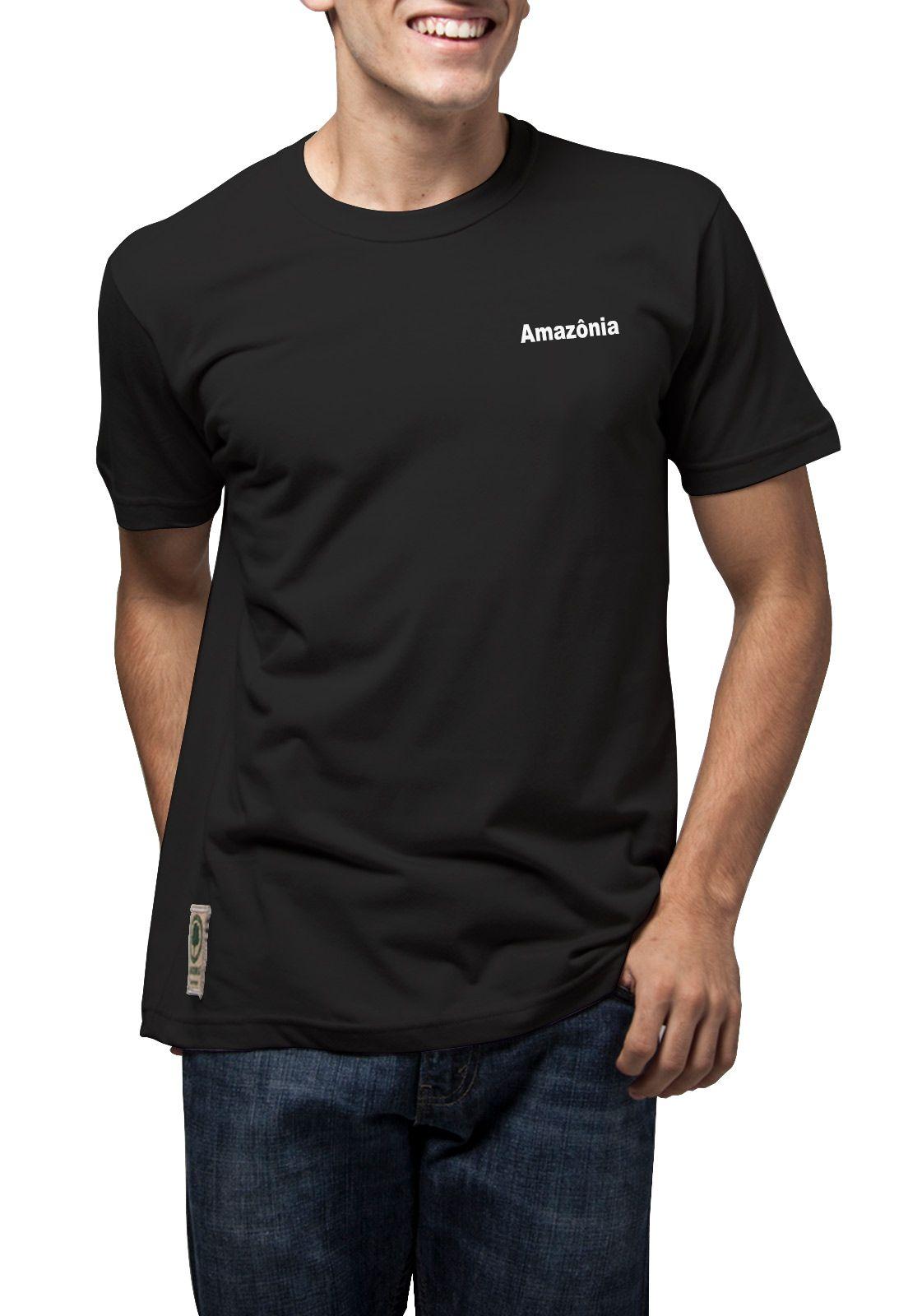 Camiseta Amazônia Tinta Flor - Preto