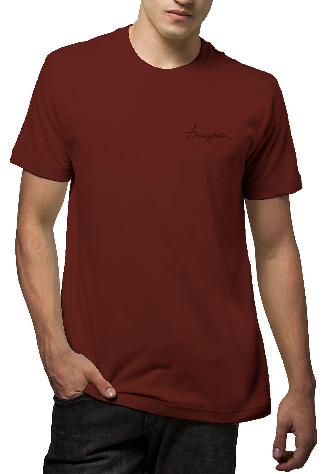 Camiseta Amazônia Tinta Flor - Vinho