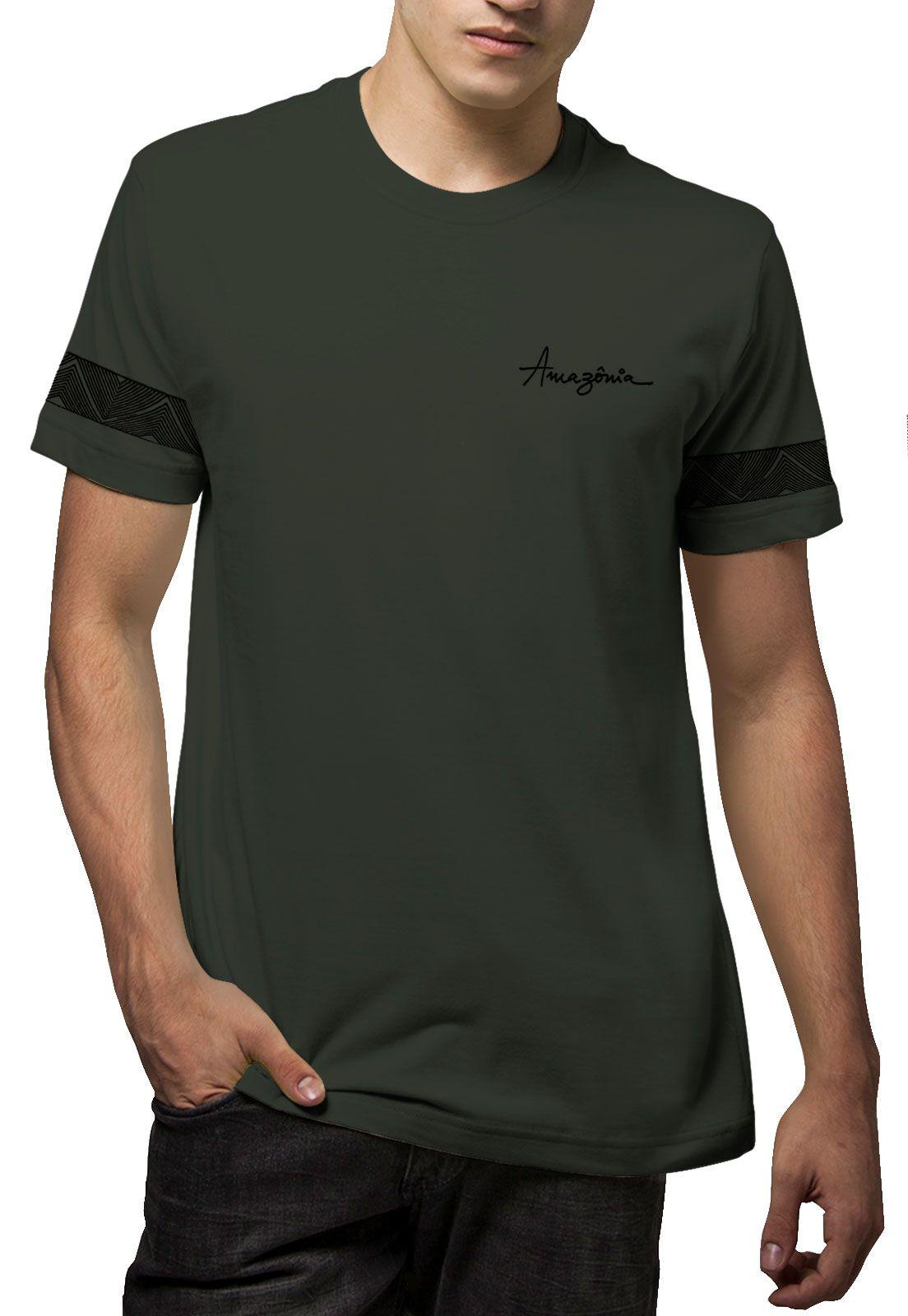 Camiseta Amazônia Tribal Braço - Verde Escuro