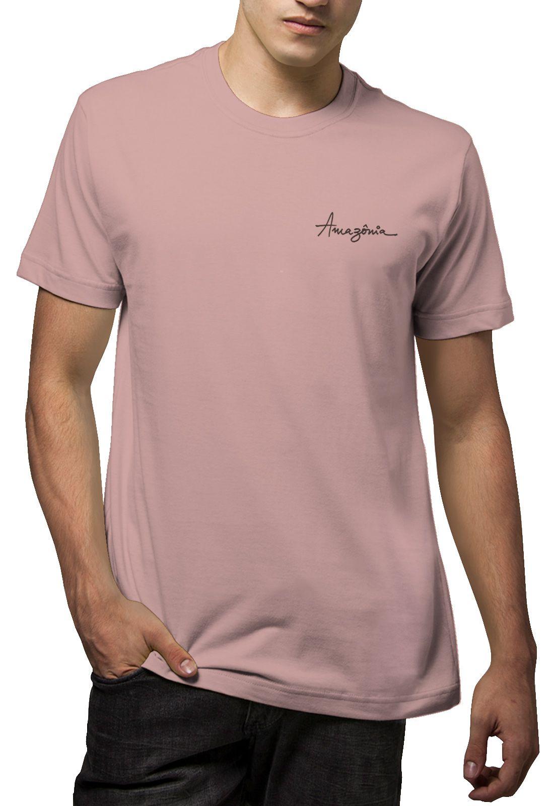 Camiseta Amazônia Tronco Broto - Rosa Claro