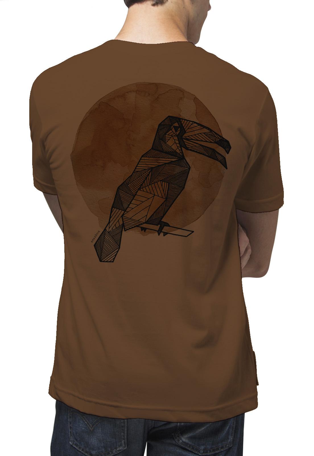 Camiseta Amazônia Tucano Grafismo - Marrom