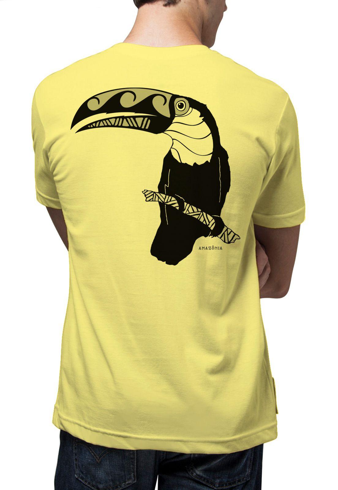Camiseta Amazônia Tucano Tribal - Amarelo