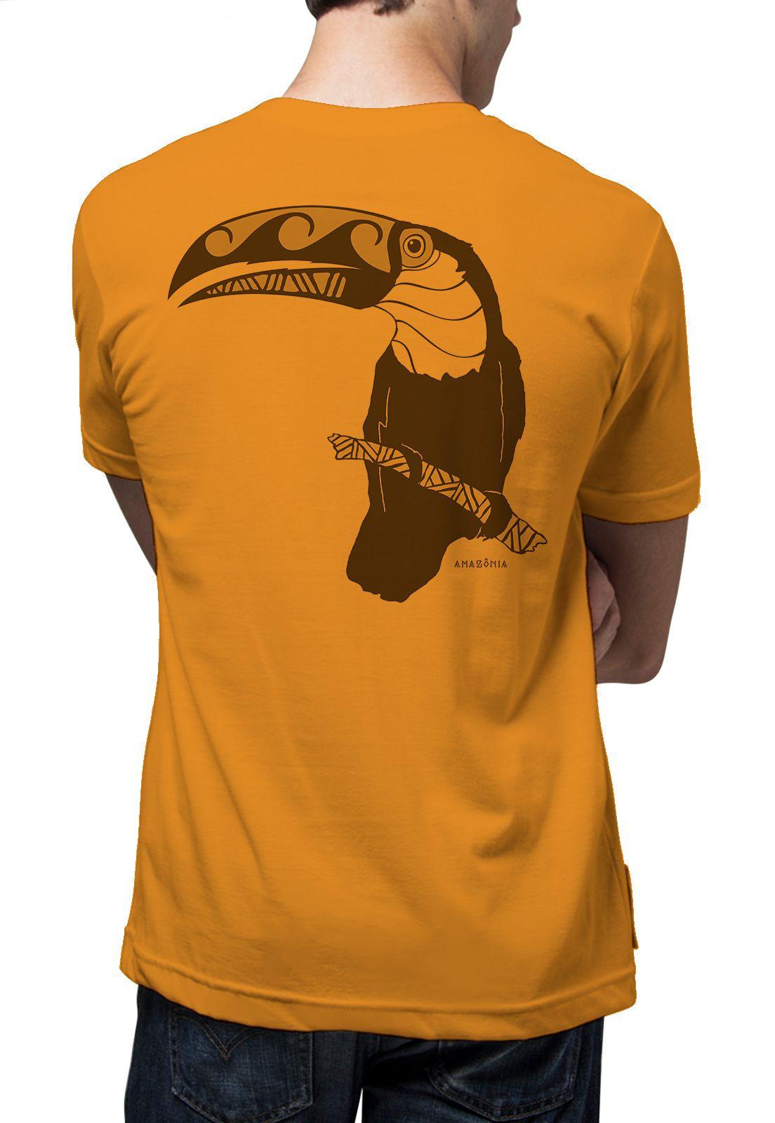 Camiseta Amazônia Tucano Tribal - Amarelo Escuro