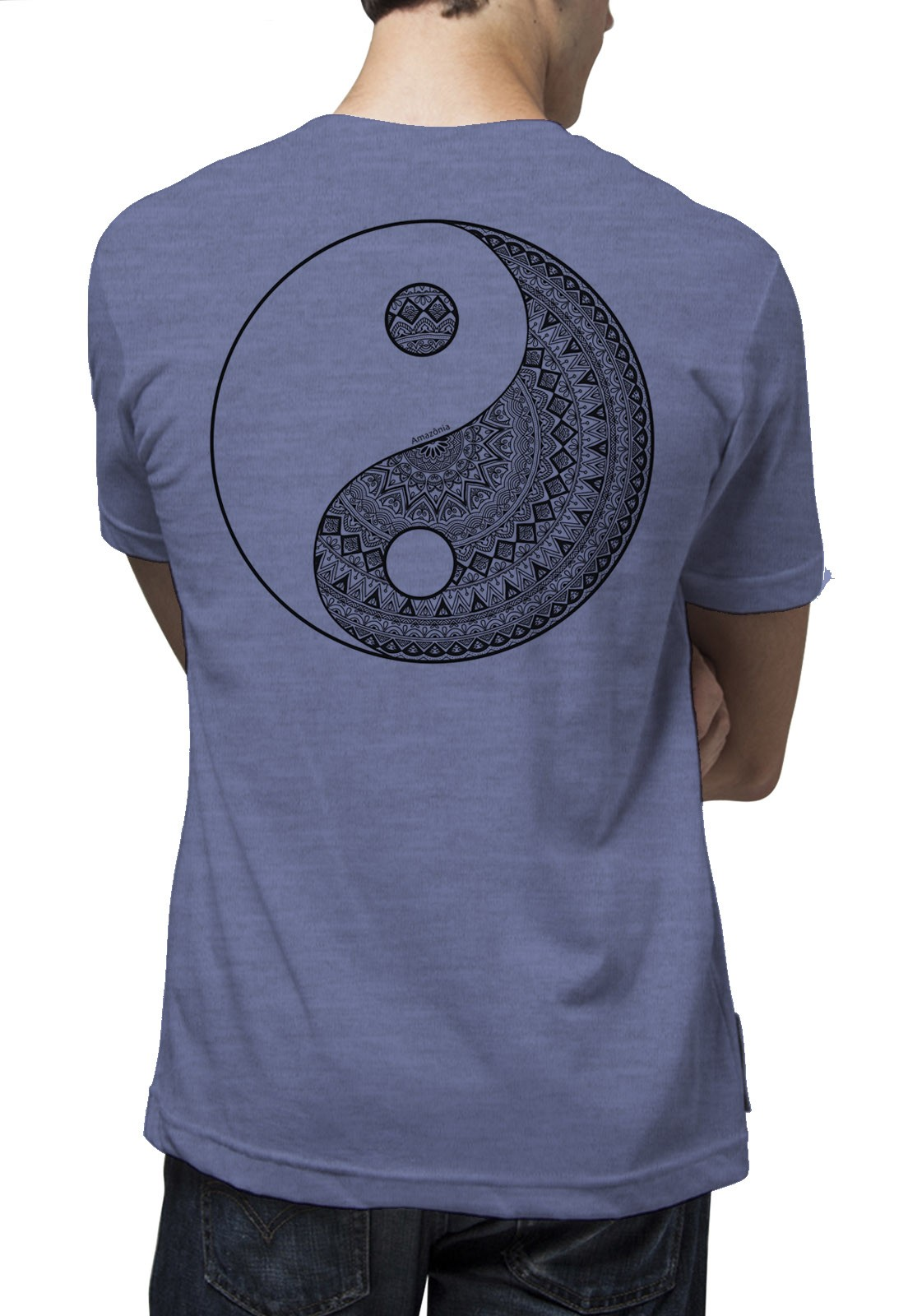 Camiseta Amazônia Yin Yang Tribal - Mescla Azul