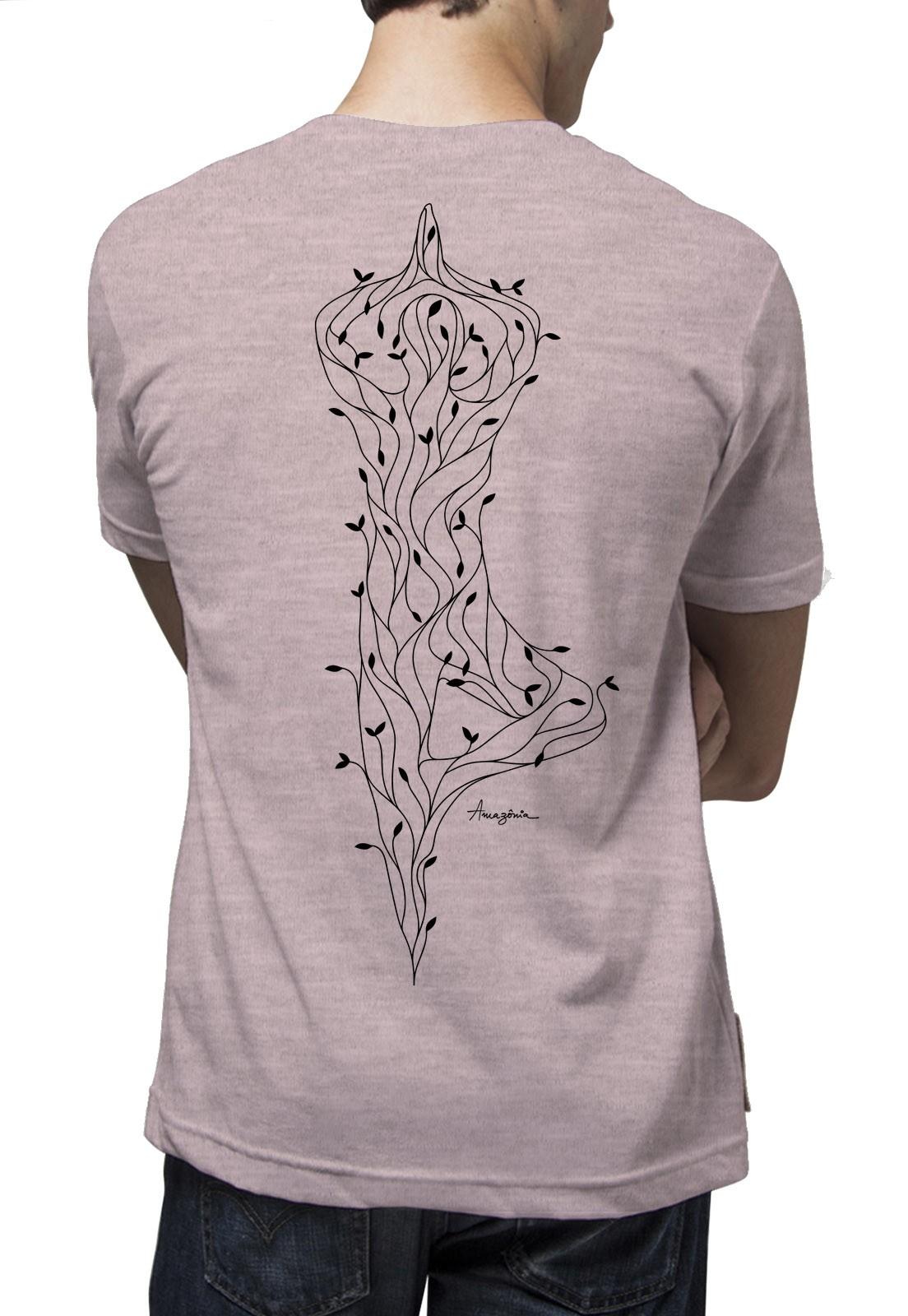 Camiseta Amazônia Yoga Árvore - Mescla Rosa