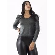 Blusa Feminina Viscose Brilho Prata Manga Bufante e Decote V