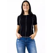 Blusa Feminina Canelada Preta com Costura Contrastante