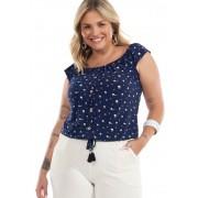 Blusa Ciganinha Com Elástico Botão e Ponteira Marinho/Floral