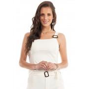 Blusa Com Fivela Alças Off White