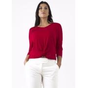 Blusa Feminina Viscose Vermelha com Nó Entrelaçado na Frente