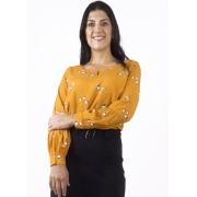 Blusa Feminina Viscose Amarela com Estampa com Recorte Franzido na Manga