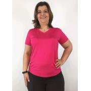 Blusa Feminina Plus Size Básica Pink Decote V Manga Curta