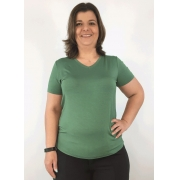 Blusa Feminina Plus Size Básica Verde Oliva Decote V Manga Curta