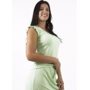 Blusa Feminina Plus Size Canelada Verde Decote V com Pregas nas Mangas