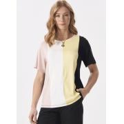 Blusa Feminina Plus Size Malha Bloco de cores Decote Redondo