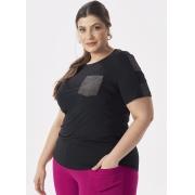 Blusa Feminina Plus Size Malha Preta Com Bolso e Detalhes Brilho